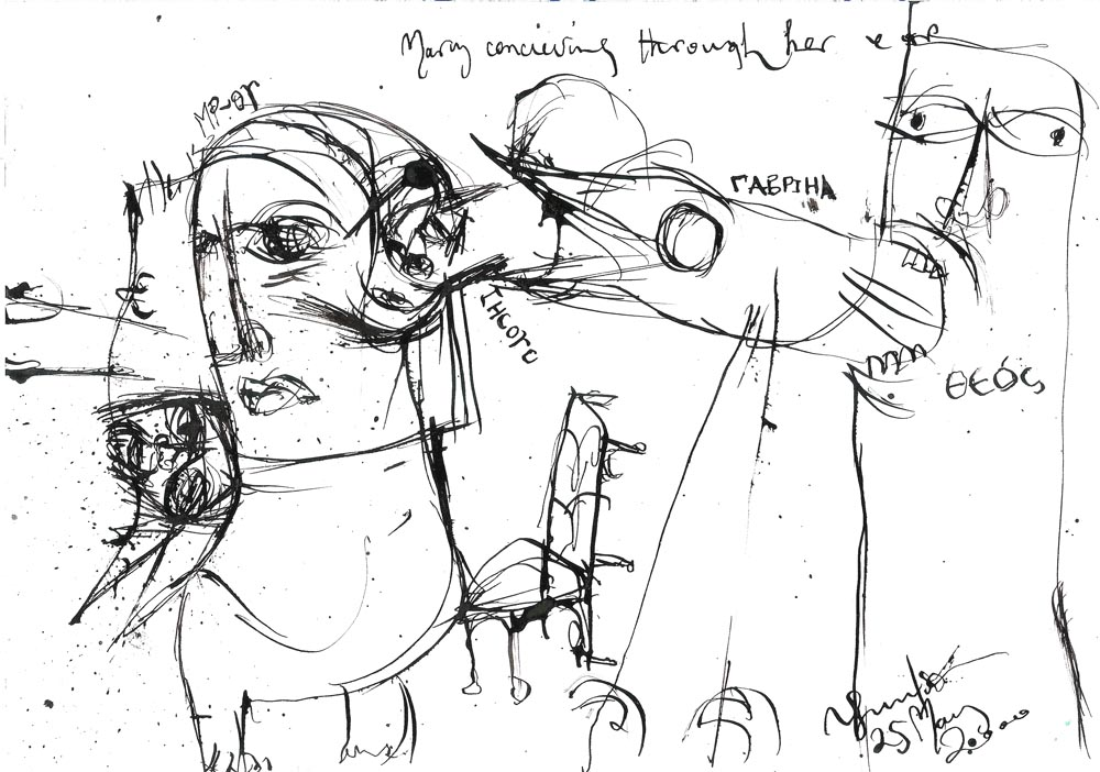 Annunciation after Samuel Beckett No. 1 (Did Mary conceive through the ear?), 2000